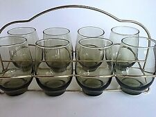 Vintage Green Juice Glasses with Gold Chrome Caddy Set of Eight Mid Century