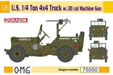 Dragon 75050 WWII US 1/4 Ton 4x4 Jeep Truck w/.30 cal Machine Gun 1/6 Model Kit