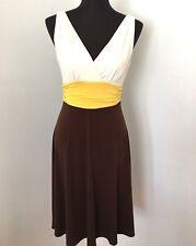 London Times Dress 8 Ivory Yellow Brown Stretch Jersey V-neck Sleeveless Work