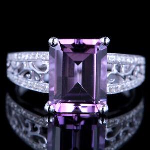 10x8mm Emerald 3.24CT Amethyst 10K White Gold Engagement Wedding Diamond Ring