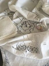 Antique Figural Lace Tablecloth W/ Matching Napkins