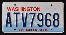 "WASHINGTON "" EVERGREEN STATE - MOUNT RAINIER ATV 7968 "" WA Graphic License Plate"
