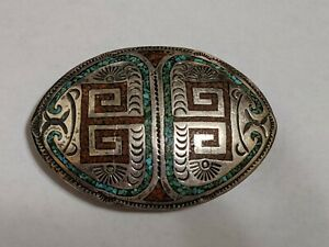 Vintage Navajo Sterling Silver Turquoise Coral Chip Inlay Belt Buckle Signed