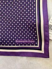 ERMENEGILDO ZEGNA PURPLE Designed Silk Pocket Square, Italy NEW NWT MENS