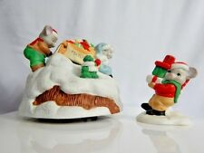 Vintage 1990s Its A Small World Christmas Musical Snow Sled Mice House Of Lloyd