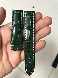 GREEN BELLY GENUINE ALLIGATOR CROCODILE LEATHER SKIN WATCH STRAP BAND 20mm