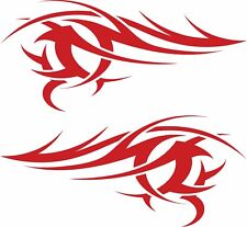 Large Red Flames X2 Vinyl Graphics Car Side Stickers Decals Tribal Fun Racing VW