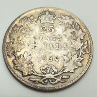1934 Canada 25 Twenty Five Cents Quarter Circulated Canadian Coin D488