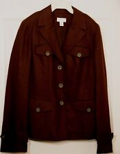 Ann Taylor Loft Fitted Dark Brown Linen / Rayon 4 pocket Blazer Jacket Womens 6