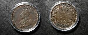 1934 KGV BRITISH INDIA QUARTER ANNA IN SECURE CAPSULE