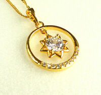PENDANT Only Lady 24K Yellow GOLD Plated Simulated DIAMOND Circle With STAR UK