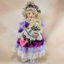 """Paradise Galleries """"Sarah"""" Porcelain Girl Doll 14"""" Musical With Baby, Box, Stand"""