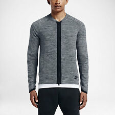NEW MENS NIKE SPORTSWEAR TECH KNIT BOMBER JACKET SIZE LARGE GREY/BLK 810558 065