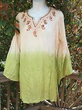 New_Gorgeous Kurta Shirt_Embroidered Ombre Silk Beaded Tunic_Top_Free Size