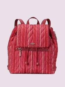 NWT KATE SPADE $329 ELLIE QUILTED LARGE DRAWSTRING FLAP BACKPACK CRANBERRY RED