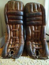 Vintage Hockey Cooper GP59L Leather Goalie Pads Brown Equipment 1970s