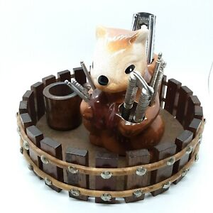 Wooden Nut Bowl and Mallet with Ceramic Squirrel Holder for Nut Crackers & Picks