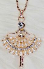 Ballerina Ballet Pendant Necklace Rose Gold Diamante Chain Jewellery Dancer Girl