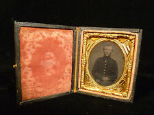 RARE CIVIL WAR TEENAGE SOLDIER TINTYPE - CASE W/ FLAGS, DRUM & CANNON - 1862