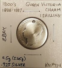 1838 - 1887 Young Queen Victoria .925 Sterling Silver Shilling Charm Coin