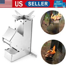 Portable Camping Stove Stainless Steel Rocket Stove Detachable Wood Burners J5K4