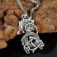 Retro Silber Herren Dragon Halskette Anhänger Edelstahl Schmuck Neu