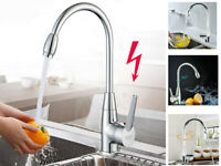 Kitchen Sink Mixer Basin Tap Single Lever Taps Swivel Chrome Waterfall Faucet