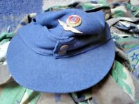 GERMAN MILITARY CAP AIR FORCE SIZE 56 WITH BADGE LINED SEE PICS