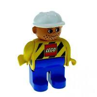 1x Lego Duplo Figur Mann gelb schwarz mit Lego Logo Bauarbeiter 4555pb038