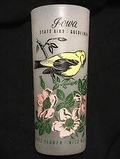 "Vintage 6.5"" Frosted Iowa State Bird And Flower Souvenir Glass"