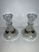 """Pair Of Vintage Clear & Copper Glass Candle Stick Holders 5"""" Formal Dining"""