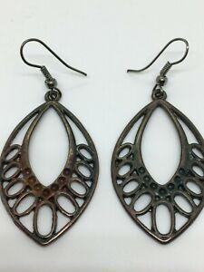 A Lovely Metal Earrings,Gunmetal Drop Earrings, Oval Dangle Earrings, New Unworn