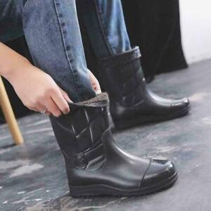 Mens Casual Velvet Detachable Mid-Calf Rain Boots PVC Rubber Waterproof Shoes