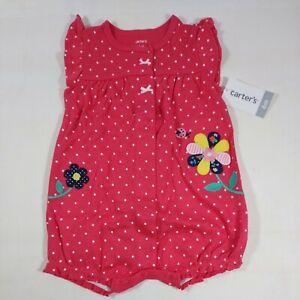 Carter's Baby Girl White Polka Dot Snap-Up Red Romper 6M Embroidered Flower