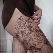 Large amazing sexy rose outline thigh temporary tattoo waterproof BIG tatouage