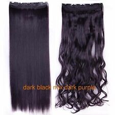 100% Natural Ombre Hair 1Piece Full Head Clip In Hair Extensions Straight Wavy