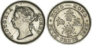 Hong Kong: 5 Cents silver 1892 - XF