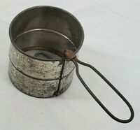 VINTAGE Tin Hand Held 1 & 2 Cup Manual Flour Sifter Kitchen/Farmhouse USA Made
