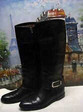 Burberry Black 'Winton' Tall Equestrian Leather Riding Boot - Size 39 - $895