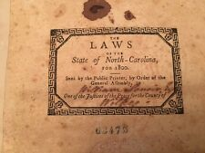 RARE 1800 Laws of North Carolina, SIGNED William Lenoir, WILKES County, Rev. War