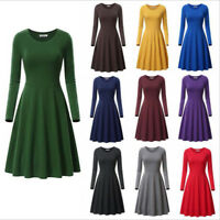 Womens Long Sleeve Tunic Dress Round Neck Casual Party A Line Loose Swing Dress