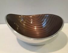 "Amazing 8-1/2"" Oval Nambe Bowl With Enamel Interior Surface Signed MT0157 c2009"