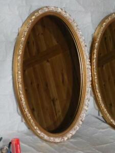 Mid Century Modern Hollywood Regency bathroom medicine cabinet oval mirror inset