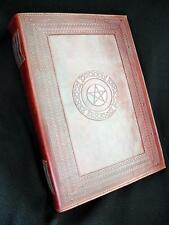 A4 PENTACLE Handmade Leather Wicca Book of Shadows Grimoire Journal Guest Book