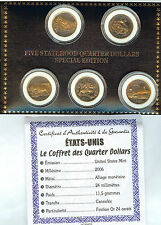coffret USA 5 Quart de dollars 2006 finition or 24 carats avec certificat