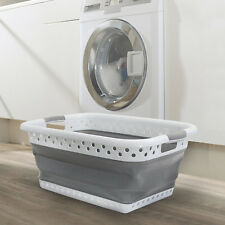LARGE COLLAPSIBLE LAUNDRY FOLDABLE BASKET CLOTH WASHING SPACE SAVING POP UP BIN