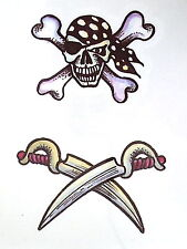 Skull / crossbones and cutlasses black Temporary Tattoo x 1 / TY0261