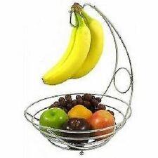 2 in 1 Banana Hook Tree Hanger With Fruit Bowl Basket Stand Apple Orange Chrome