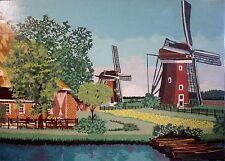 B-? FLEMMIG (?) - Naives Gemälde: FLUSS UND WINDMÜHLEN IN HOLLAND