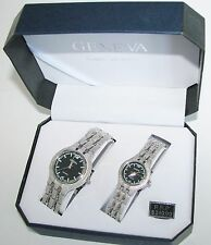 NEW GENEVA SILVER TONE TEXTURED BAND+BLACK DIAL 2,TWO PIECE HIS+HER WATCH SET